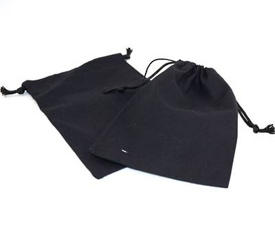 XL CALICO POUCH BLACK/BLACK CORD 115 X 160MM