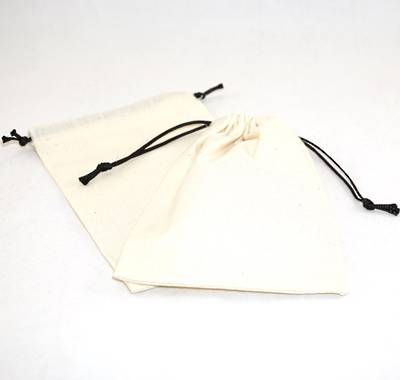 XL CALICO POUCH CREAM/BLACK CORD 115 X 160MM