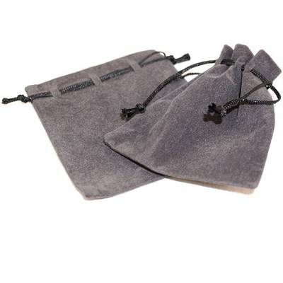 SUEDE POUCH CHARCOAL/BLACK CORD ASSORTED SIZES