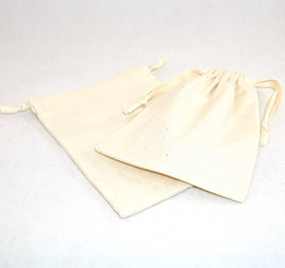 XL CALICO POUCH CREAM/CREAM RIBBON 115 X 160MM