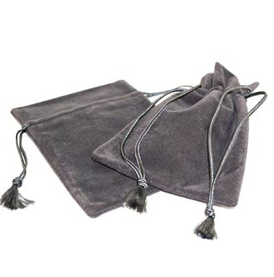 DELUXE CHARCOAL SUEDE PARTITION POUCH LARGE