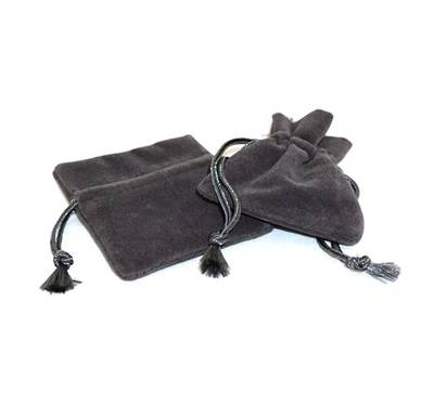 DELUXE CHARCOAL SUEDE PARTITION POUCH SMALL