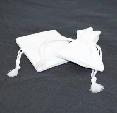 DELUXE WHITE SUEDE PARTITION POUCH SMALL