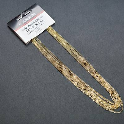 "GOLD PLATED CHAIN 18"" (45CM) - 10 PACK"