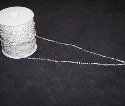 DAWN EXTRA FINE CABLE CHAIN SILVER PLATED 2.3X2.7MM (1 MTR)