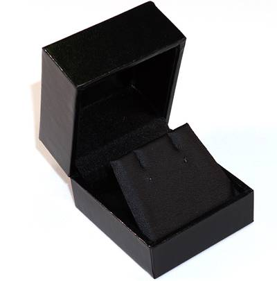 SDRFL - EARRING BOX LEATHERETTE BLACK NO LINE BLACK VINYL FLAP BULK DEAL (36 PCS)