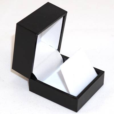 SDRFL - EARRING BOX LEATHERETTE BLACK NO LINE WHITE VELVET FLAP