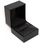 SDR - RING BOX LEATHERETTE BLACK NO LINE BLACK VINYL PAD BULK DEAL (36 PCS)