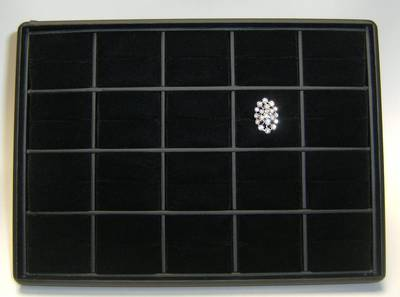 RING DISPLAY TRAY BLACK W/ BLACK VELVET PADS