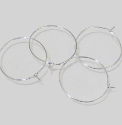 "HOOP EAR WIRES 0.75""/19MM SILVER PLATED (10 PAIRS)"