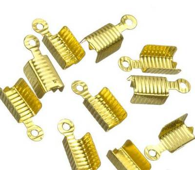 LEATHER ENDS GOLD PLATED 12x4MM (20 PACK)