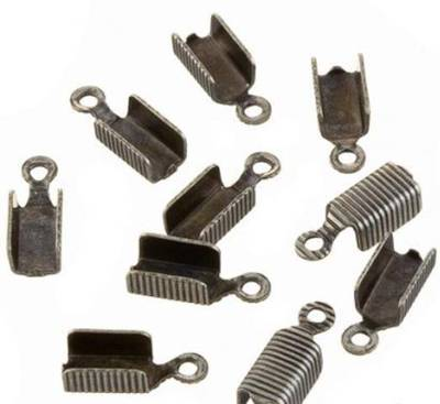 LEATHER ENDS GUNMETAL 12x6MM (20 PACK)