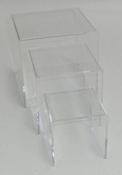 3 STEP CLEAR PERSPEX DISPLAY STAND (3 PCS SET)