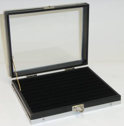 GLASS TOP RING DISPLAY CASE W/ROLLS BLACK SMALL