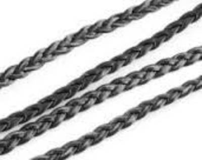 SEMI WAXED 3 PLY PLAIT BLACK JEWELLERY CORD 0.8MM (5 MTRS)