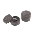 DELUXE ROUND RING BOX CHARCOAL SUEDE