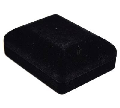 SSP1 - MEDIUM PENDANT / EARRING BOX BLACK FLOCK BLACK VELVET PAD