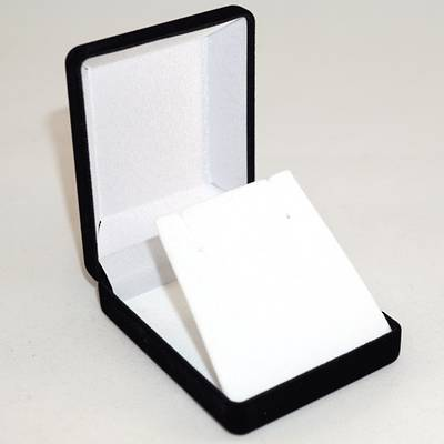 SSP1 - MEDIUM EARRING / PENDANT BOX BLACK FLOCK WHITE VELVET FLAP BULK DEAL (24 PCS)