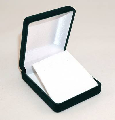 SSP1 - MEDIUM EARRING / PENDANT BOX GREEN FLOCK WHITE VELVET FLAP BULK DEAL (24 PCS)