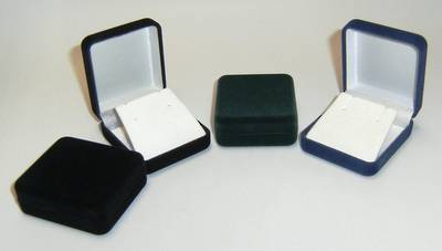 SSE - EARRING / MEDIUM PENDANT BOX BLACK FLOCK BLACK FLAP