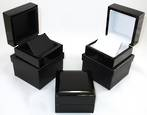 EARRING BOX GLOSS BLACK WOOD WHITE FLAP
