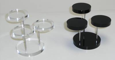 3 STEP ROUND DISPLAY STAND CLEAR PERSPEX