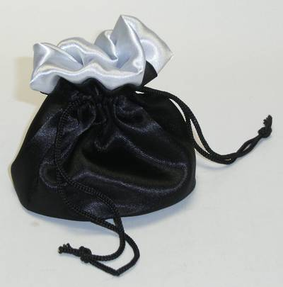 DELUXE ROUND SATIN POUCH LARGE BLACK & SILVER